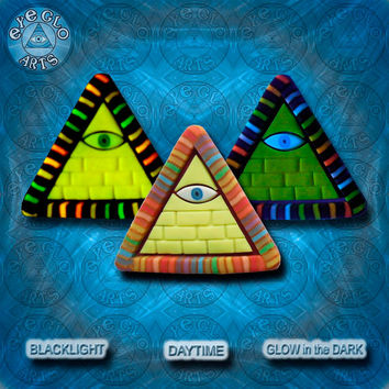 Yellow Rainbow with Gold Glow in the Dark Illuminati Pyramid Pendant EyeGloArts Handmade Blacklight jewelry UV wearable Art