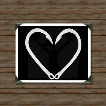 FISHING HOOK HEART / vinyl decal / car decal / hunting decal / deer decal / fishing / hunter decal / forest hunting / deer season
