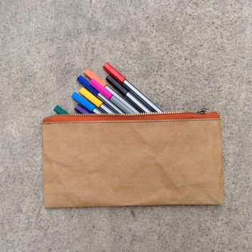 Kraft fabric paper pouch bag zipper pencil case
