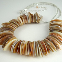 Shell Necklace Mother of Pearl Necklace Statement Necklace Beach Necklace Mother of Pearl Shell Statement Necklace