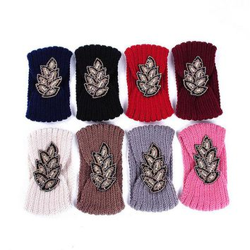 Fashion Women Lady Cotton Crochet Bow Knot Turban Knitted Head Wrap Hairband Winter Ear Warmer Headband Flower Hair Band