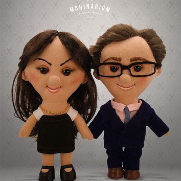 Unique Custom dolls - Becca & Josh -  Selfie doll,  character doll, rag doll, art doll, personalized doll, made by photo