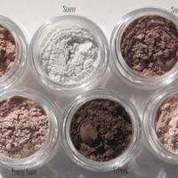 Light Shades of Everyday Wearable Browns Mineral Eye Shadows, vegan sample set of six