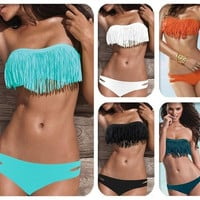 Hot Sale Swimwear Women Padded Boho Fringe Bandeau Bikini Set New Swimsuit Lady Bathing suit = 1932605956