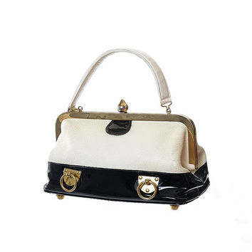 Vintage 60s Roger Van S Spectator Kelly Bag 1960s Black and White Patent Leather MCM Mod Rockabilly Purse Doctor Satchel Retro Handbag