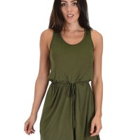 Lyss Loo At Ease Waist Tie Olive Tank Dress