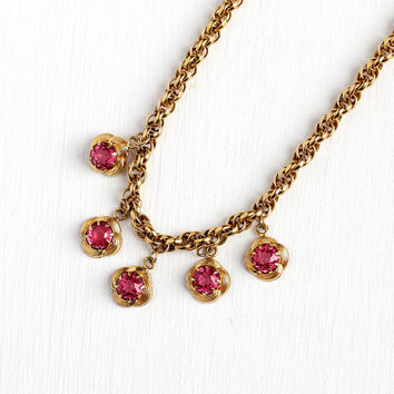 Vintage Choker Necklace - Chunky 12k Yellow Gold Filled & Pink Glass Stone Necklace - 1950s Flower Jewelry Gift for Her Layering Piece