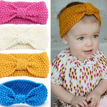 Baby Girls Knit Crochet Top Knot Elastic Turban Headband Ear Warmers  Accessories