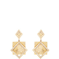 14K Yellow Gold Hammered Square Diamond Earrings by Madhuri Parson - Moda Operandi