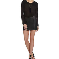 XOXO Faux-Leather-Skirted 2-Fer Dress - Black