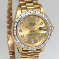Rolex Datejust President 18k Gold Diamond Champagne Ladies Watch 69178