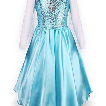 Girls Frozen Elsa Fancy Dress Kids Halloween Costume With Cape