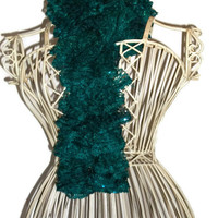 Hand Knit Dark Turquoise Green Lacy Ruffled Scarf with Sequence Trim - Fashion Accessory - Ready to Ship