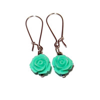 Aqua Floral Dangle Earrings, Handmade