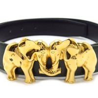 Auth Hermes Leather Elephant Motif Buckle Reversible Belt Made In 1994 (DH39170)