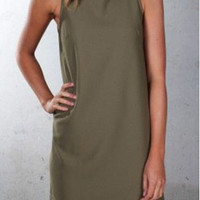 High Neck Sleeveless Dress B005065