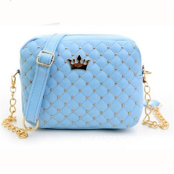 2017 Hot New Women Messenger Bags Rivet Quilted Leather Crossbody Shoulder Bag Fashion Ladies Casual Bags Hangbag