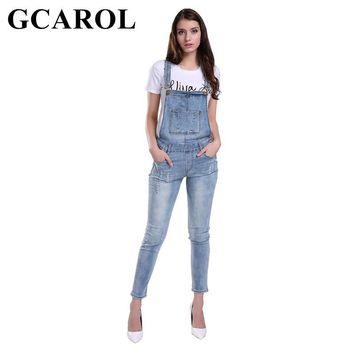 c9e91114e58 GCAROL Women Ripped Denim Jumpsuits Casual Sexy Stretch Romper L