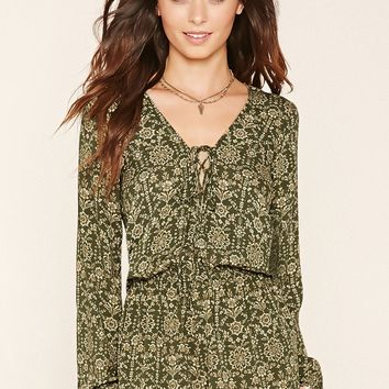 Abstract Floral Lace-Up Romper