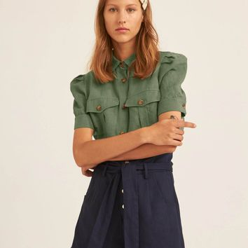 Puff Sleeve Flap Pocket Patched Shirt