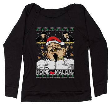 Home Malone Ugly Christmas Slouchy Off Shoulder Oversized Sweatshirt