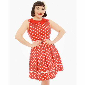 Molly Sue Red Polka Dot Print 1950's Dress by LindyBop
