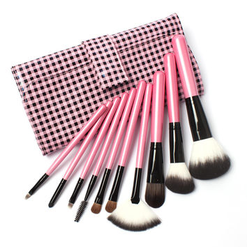 10 PCs Makeup Brushes Kit with pink Leather pouch