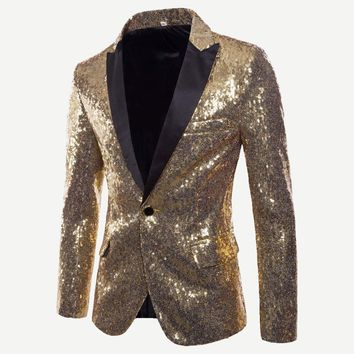 Mens Gold Sequin Blazer with Black Lapel