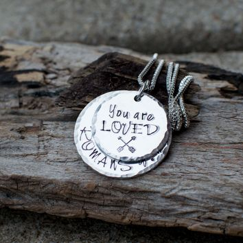 You are loved necklace Romans 8 :37 Arrow Necklace Bible Verse Jewelry Scripture Jewelry Hammered Edges