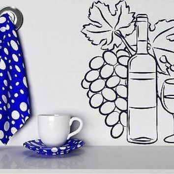 Wall Vinyl Sticker Decor Wine Glass Bottle Cluster of Grapes Unique Gift (n179)