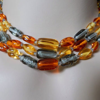 Beautiful Artisan Glass Bead Necklace Triple Strand Lampwork 1950s Amber Citrine Bead Necklace