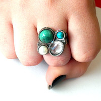Multi stone ring, Sterling silver ring, gemstone ring, silver jewelry, flower ring, crisocola,Turquoise, quartz, pearl, israel jewelry, gift