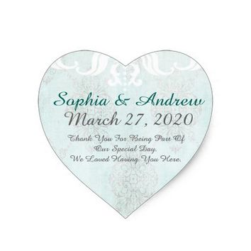 Pretty Aqua Distressed Heart Sticker
