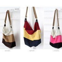 stripe canvas bag messenger bag fashionable casual student school bag women's handbag shoulder bag = 1668786052