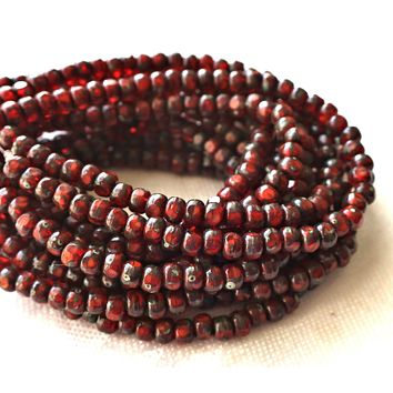 Lot of 50 4 x 3mm, Tricut, Tri-cut, 3 cut Round Czech glass beads, Orange Red picasso, earthy, rustic 6/0 seed beads C66101
