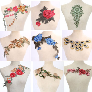 Craft collar Venise Sequin Floral Embroidered Applique Trim Decorated Lace Neckline Collar Sewing Free Shipping