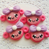 Pink Monkey Girl Hairbow Center Animal Polymer Clay Bow Centers for Bow Making DIY Deco Den Flat Back Cabochon