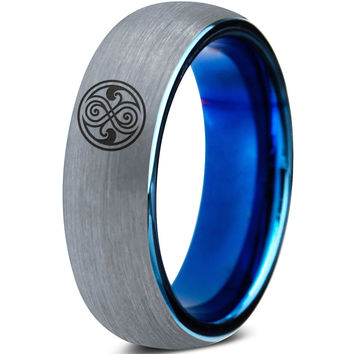 Doctor Who Gallifreyan Sign Silver Blue Dome Tungsten Ring