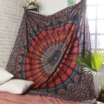 Indian Mandala Printed Large Tapestry Wall Hanging Hippie Throw Bohemian Twin Bedspread Beach Yoga Throw Towel Decor 220x145cm