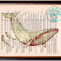 Reddish Brown Whale & Seals Art Beautifully Upcycled Vintage Dictionary Page Book Art Print, Sea Life Print