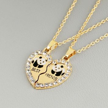 "Broken Heart 2 Parts Animal Panda ""best Friend""  Love Pendant Necklace Couple Gift Necklace 2 Pcs/set"