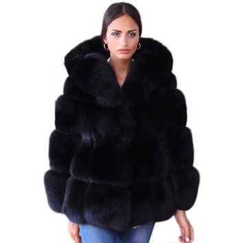 Fake Fox Fur Jacket With Hood Women Winter Faux Fox Fur Jackets Woman Warm Artifical Fox Fur Coats Female Ladies Clothes FC079