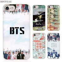 BINYEAE bts bangtan boys Clear Cell Phone Case Cover for Apple iPhone 4 4s 5 5s SE 5c 6 6s 7 Plus