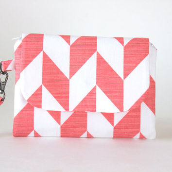 Mellon and White Chevron Wristlet, Stylish Women's Wristlet Wallet, Small Orange and White Hand Bag, Casual and Comfortable