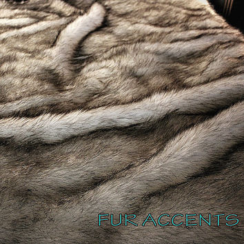 Faux Fur Russian Wolf Bedspread / Comforter / Throw Blanket / White With Black Tips / You Choose the Size You Need / New