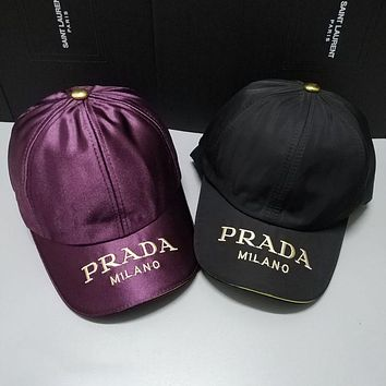 PRADA Fashionable Cool Embroidery Sports Sun Hat Baseball Cap Hat