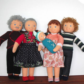 Waldorf doll family, Rag doll family, Cloth doll family, Handmade