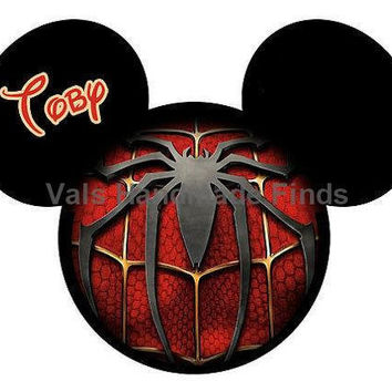 Spiderman Mickey Mouse Head Disney World Personalized w/ Name/Date Printable Iron On Transfer DIY Instant Download