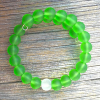 Sea Glass Beaded Bracelet Clear White Green Peridot Beach Bangle in by Wave of Life