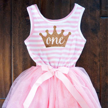 First or Second Birthday Pink and Gold One Striped Tutu Dress